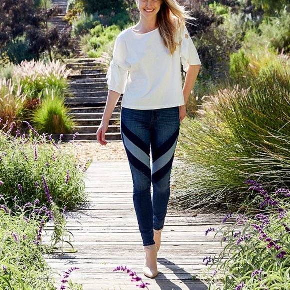 Ella Moss Denim - Ella Moss High Rise Chevron Two Tone Skinny Jeans